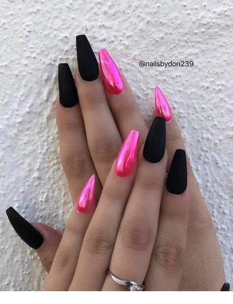 Черно розовый маникюр градиент