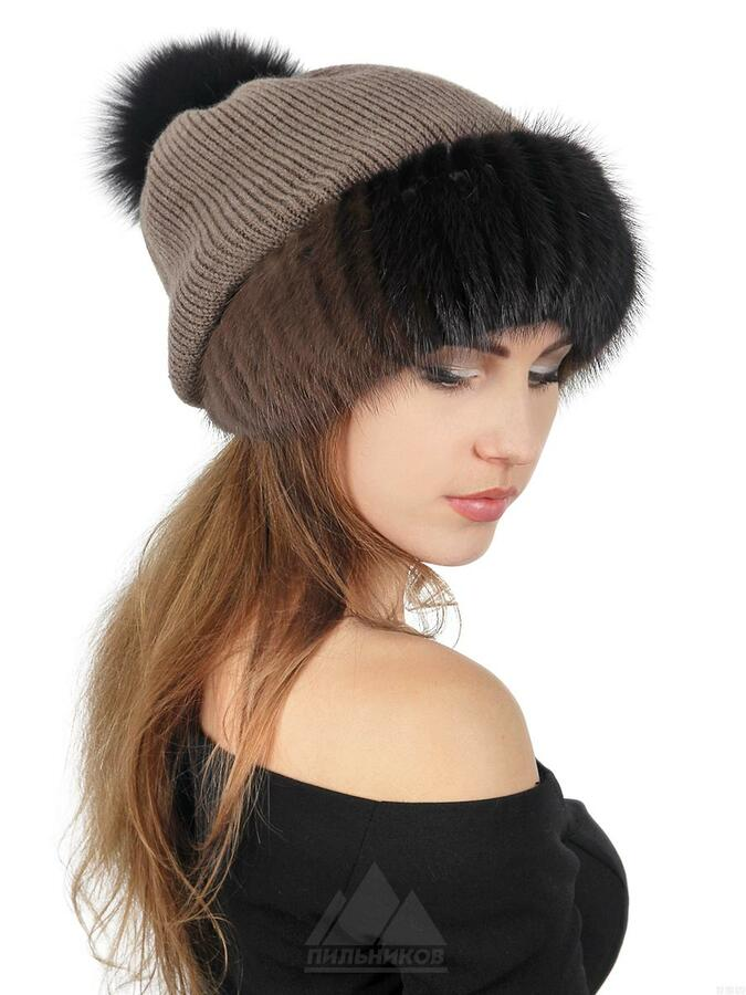 Комбинированная шапка фото 2
