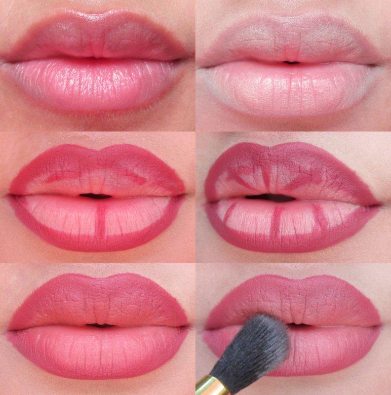 Нанесение помады на пухлые губы